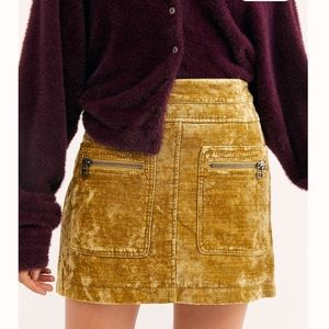 NWT FREE PEOPLE VELVET MINI SKIRT SIZE 2